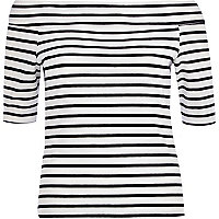 Black and white stripe bardot top