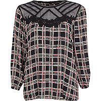 Black check mesh insert top