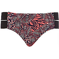 Pink abstract print cut out bikini bottoms