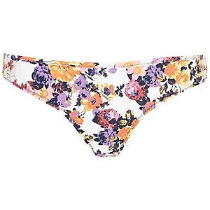 White floral print bikini bottoms