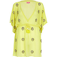Yellow embellished kaftan