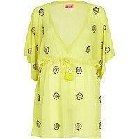 Yellow embellished kaftan