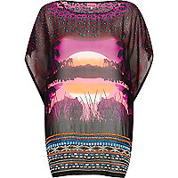 Purple safari print oversized chiffon t-shirt