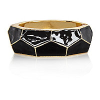 Gold tone geometric enamel bangle