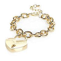 Gold tone padlock charm bracelet
