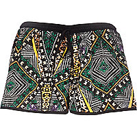 Black tribal print runner shorts
