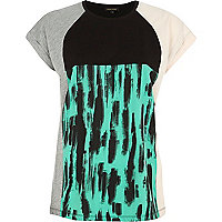Green smudge print colour block t-shirt
