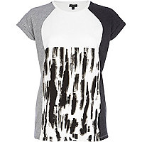 Grey smudge print colour block t-shirt