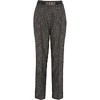 Grey tweed high waisted tapered trousers