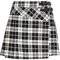 Black and white tartan skort