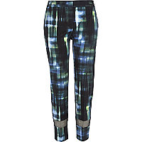 Dark green check mesh panel trousers