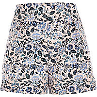 Pink floral jacquard high waisted shorts