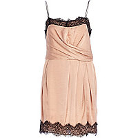 Nude lace slip dress
