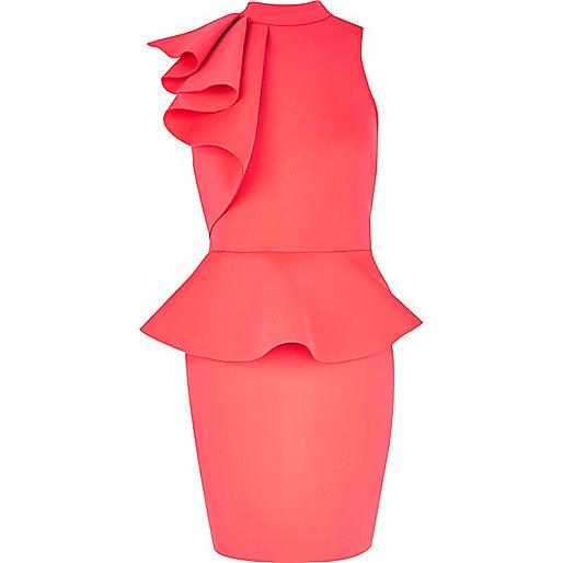 Pink asymmetric frill peplum dress
