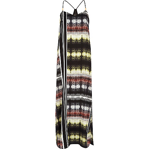 Black abstract print maxi dress