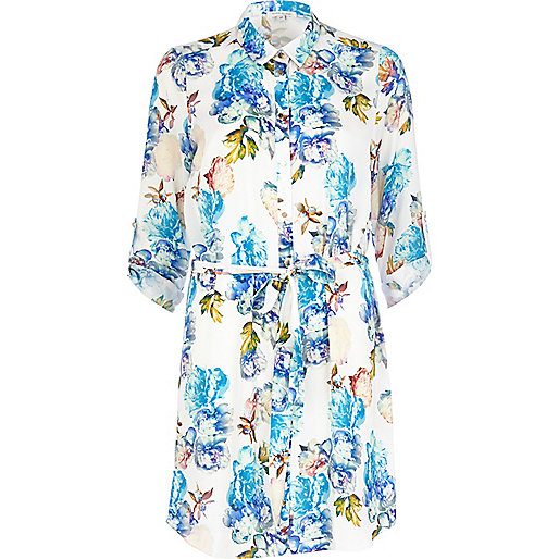 White floral print shirt dress