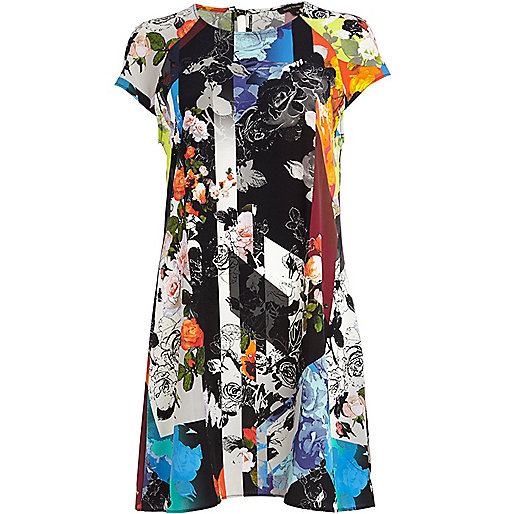 Black abstract floral print swing dress