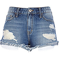 Mid wash ripped denim shorts