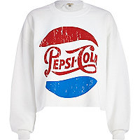 White Pepsi-Cola print cropped sweatshirt