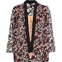 Dark red floral print kimono