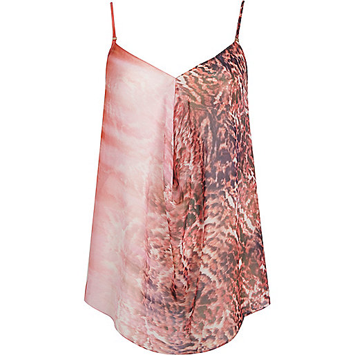 Pink animal print draped cami top