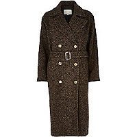 Brown herringbone tweed long coat