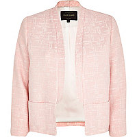 Light pink boucle cropped jacket