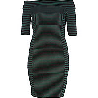Dark green mixed stripe bardot bodycon dress