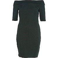 Dark green mixed stripe bardot bodycon dress