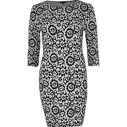 Black floral jacquard bodycon dress