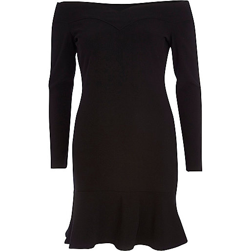 Black bardot drop hem dress