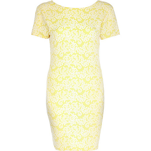 Light yellow jacquard bodycon dress