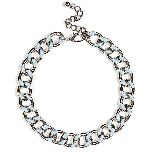 Silver tone enamel curb chain necklace