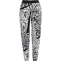 Black and white spliced print joggers