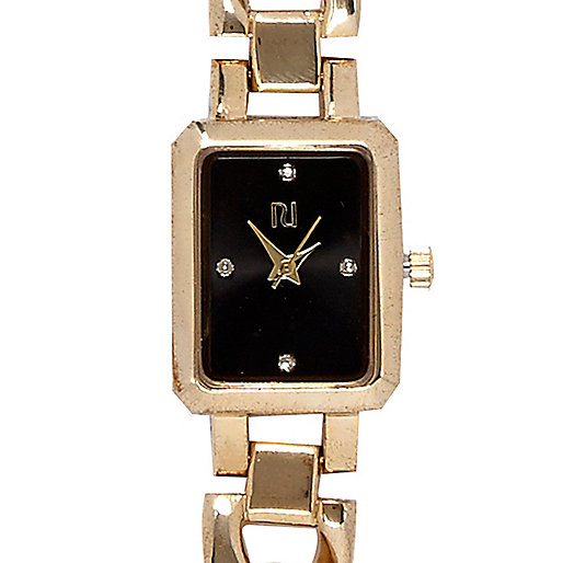 Gold tone square bracelet watch