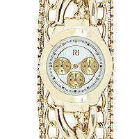 Gold tone multi chain gateway watch