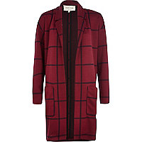 Dark red check oversized jersey jacket