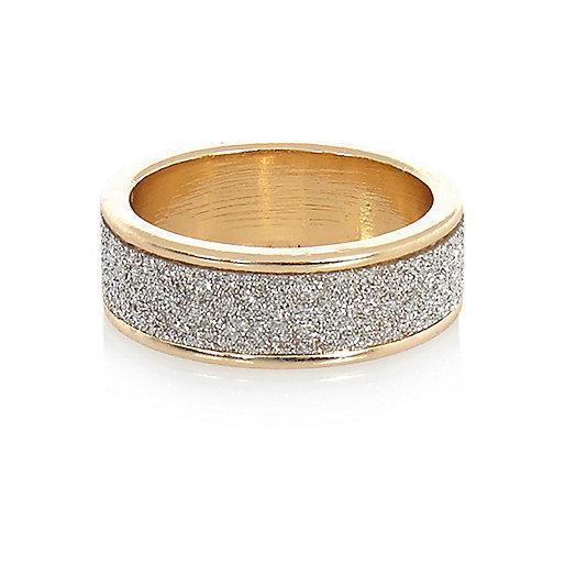 Gold tone glitter midi ring