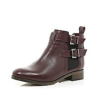 Dark red buckle strap Chelsea boots