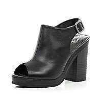 Black peep toe sling back heels