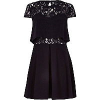 Black lace insert fit and flare dress