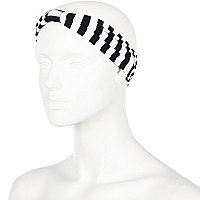 Black and white stripe jersey headband