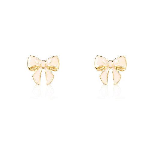 Light pink bow stud earrings