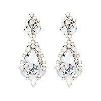 White teardrop statement earrings