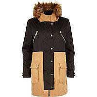 Camel faux fur trim woollen parka jacket