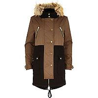 Khaki faux fur trim woollen parka jacket