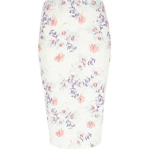 Pink blurred floral print midi skirt