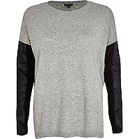 Grey leather-look sleeve jumper