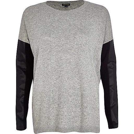 Grey leather-look sleeve jumper