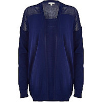 Blue mesh panel open front cardigan